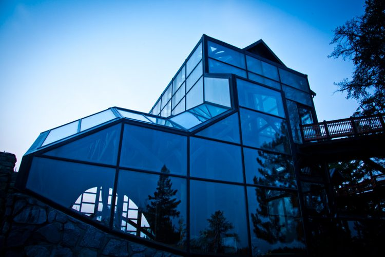 The Steger Wilderness Center is made of glass, native timber and stone, and recycled wood.