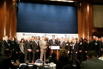 Members of the group Law Enforcement Leaders to Reduce Incarceration. Professor Mark Osler is pictured at right.