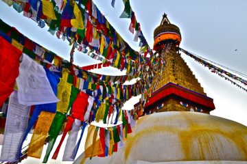 """Honorable Mention, Sense of Place: Caitlin Woodard, Kathmandu, Nepal. """"The Boudhanath Stupa: The Boudhanath Stupa is a sacred destination for Buddhists and tourists alike. Meditations are offered by walking clockwise around the base of this stupa. Monks at the neighboring monasteries burn cedar incense, which contributes to the calming atmosphere."""""""