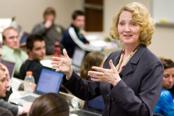 School of Law professor Teresa Collett gives a lecture during a class April 10, 2008 in the School of Law building.