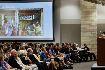 "Art History professor Elizabeth Lev delivers her speech on ""Michelangelo's Women"" September 14, 2015 in the Anderson Student Center's Woulfe Alumni Hall."