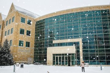 The School of Law building is pictured on March 3, 2015, in downtown Minneapolis during a late winter snowfall.