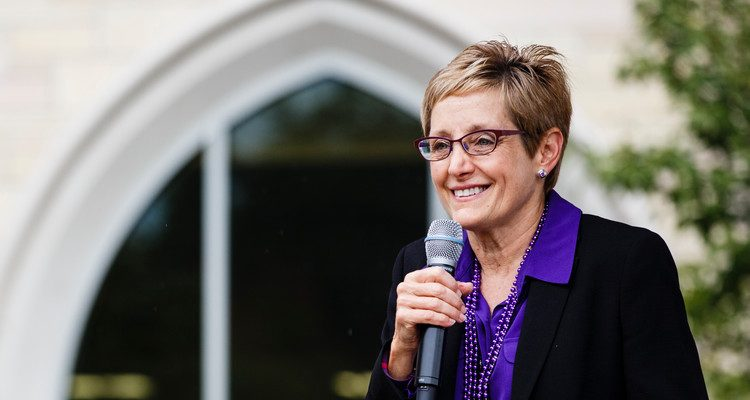 UST President Julie Sullivan speaks on the John P. Monahan Plaza September 24, 2015, during a Pep Rally for the annual University of St. Thomas vs. Saint John's University Tommie Johnnie football game. The rally was filmed by ESPN's national sports television show ESPN SportsCenter On the Road.