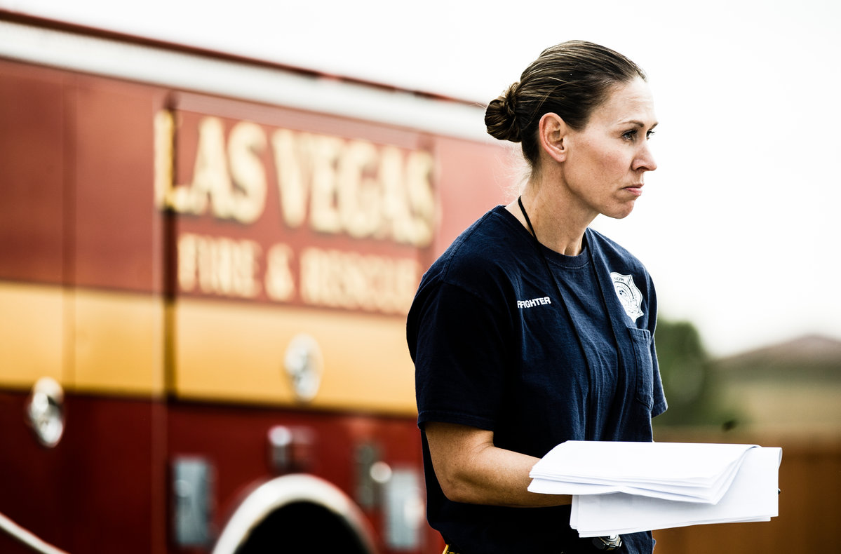 Thatcher keeps an eye on recruits at the Las Vegas Fire Department Training Center in Las Vegas, Nevada.