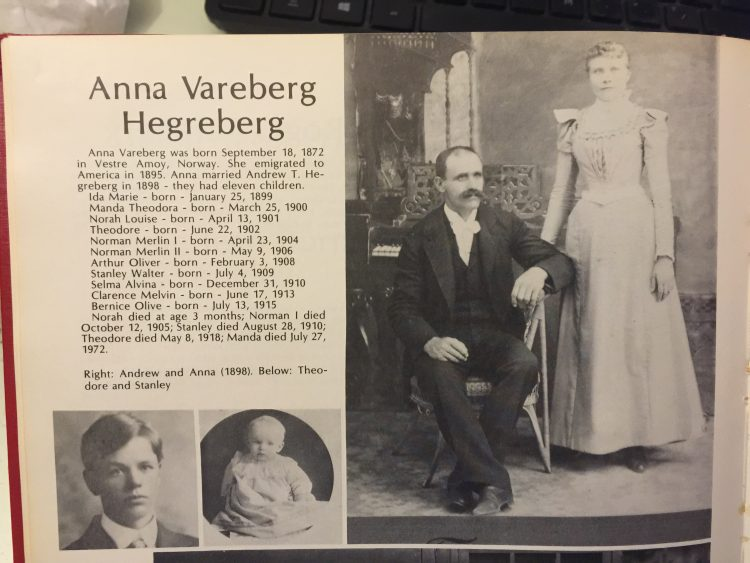 "Andrew ""Anders"" Hegreberg and his wife, Anna - Larsen's great grandparents. Anders emigrated to the United States in 1892. This photo comes from Hegreberg family history book owned by Larsen."