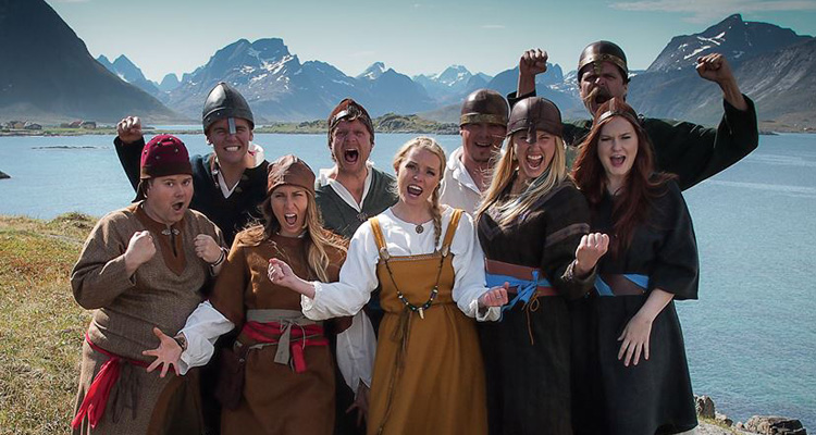 """'93 alumnus Greg Larsen (back row, second from left) and some of his cast mates from season four of hit Norwegian reality show """"Alt for Norge."""" Photo courtesy of Alt for Norge."""
