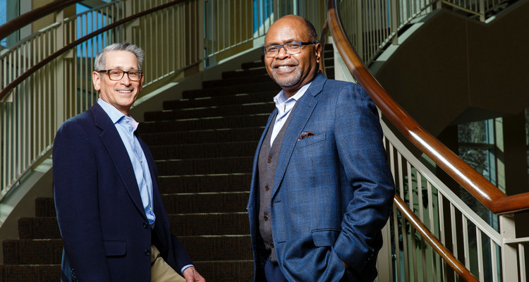 Douglas Jondle, left, research director at the Center for Ethical Business Cultures at the University of St. Thomas and Ron James, right, president and CEO of CEBC
