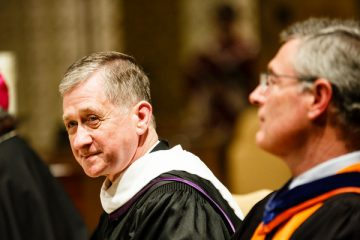 Blase Cupich, archbishop of the Archdiocese of Chicago, listens to a speech in the Chapel of St. Thomas Aquinas in St. Paul on May 11, 2016. Blase Cupich, Archbishop of the Diocese of Chicago, '71 (Philosophy) received an honorary degree from the University of St. Thomas.