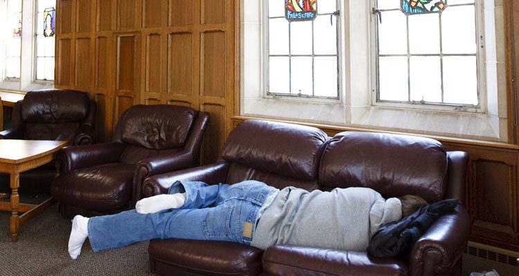 A legendary place to catch a nap is the O'Shaughnessy Room of the O'Shaughnessy-Frey Library.