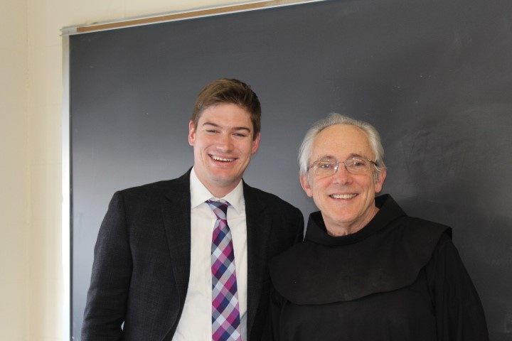 John Lane '12 with teaching colleague Brother Vincent, OSF, of the Franciscan Brothers of Brooklyn.