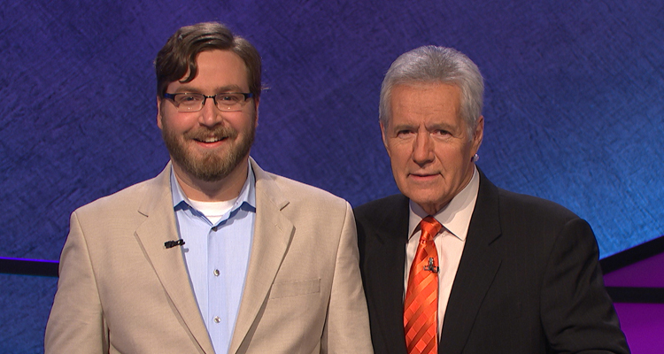 Peter Buccholz '07 M.A. (left) with Alex Trebek, longtime host of television game show Jeopardy!