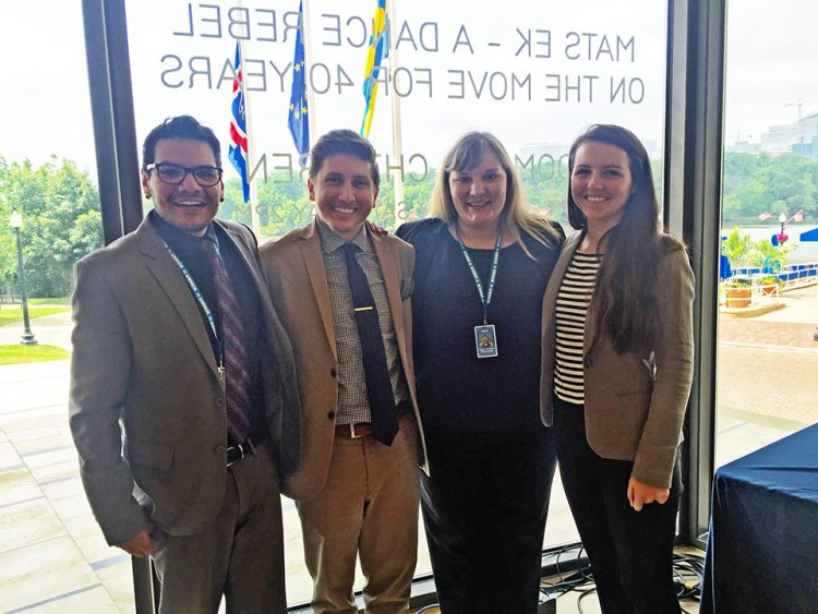 Christina Espey-Sundt, second from right, worked with other interns for the U.N. High Commissioner for Refugees in Washington, D.C.