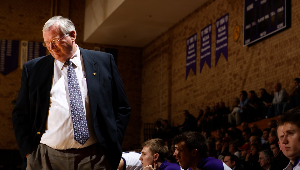 Head coach Steve Fritz winces at a botched play during a men's basketball game against Bethel February 11, 2009 in Schoenecker Arena. The Tommies overcame a 14 point deficit to win 75-72.