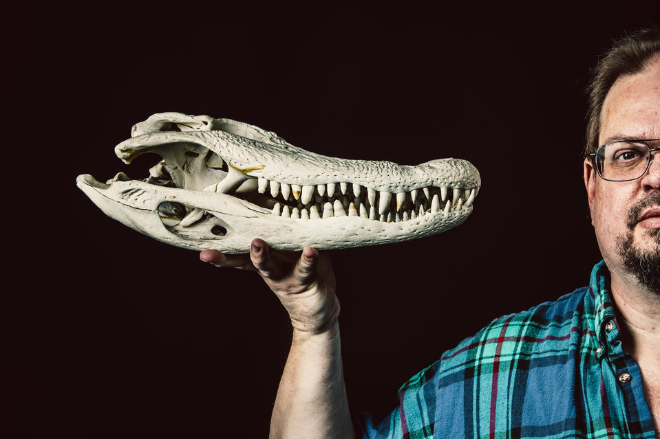St. Thomas English Professor Gordon Grice holds an alligator skull in this studio portrait taken October 6, 2016. These photos were taken to accompany a story about Grice's book, The Book of Deadly Animals.