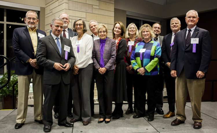 Award recipients at the Quarter Century Club dinner in Woulfe Alumni Hall on Wednesday, November 9, 2016.