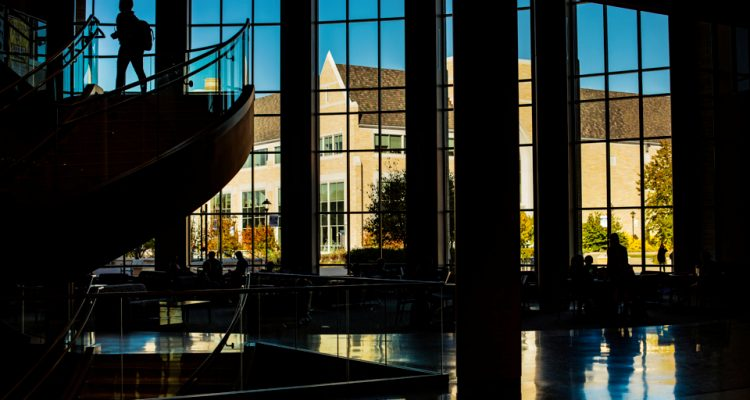 Silhouettes in the Anderson Student Center.
