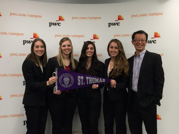 The St. Thomas winning team. From left to right: Abby Radue, Emily Rose, Sophia Nicklason, and Francesca Bergin. Lawrence Chui (faculty adviser). Not pictured, Kim Ishaug (faculty adviser).