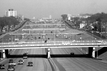 Interstate 94 looking east toward St. Paul. From the Minnesota History Center.