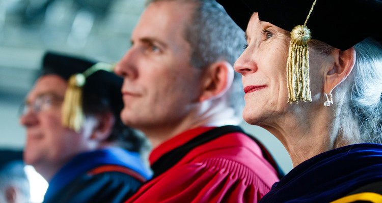 School of Social Work dean Barbara Shank listens to a speech during the inauguration of Julie Sullivan as the 15th president of St. Thomas on October 17, 2013 in the Anderson Athletic and Recreation field house.