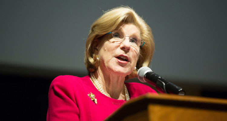 Nina Totenberg, legal affairs correspondent for National Public Radio, speaks in the O'Shaughnessy Educational Center auditorium on March 2, 2017 in St. Paul. The Luann Dummer Center for Women sponsored the Totenberg speech as part of Women's History Month.