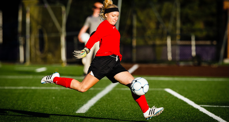 Goalkeeper Tarynn Theilig kicks the ball during a women's soccer game between the University of St. Thomas and Concordia College - Moorhead, on September 30, 2015 on the South Athletic Field. UST won the game by a final score of 4-1.