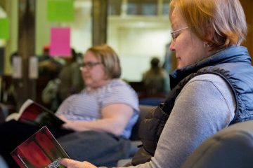 A guest participates in the Emily Dickinson Reading Marathon at O'Shaughnessy-Frey Library on April 26, 2017.