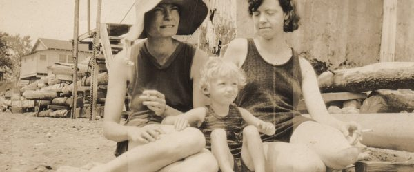 Dorothy Day (left) at the beach with her daughter, Tamar (center), and her sister, Della. Photo Courtesy of Marquette University Archives.