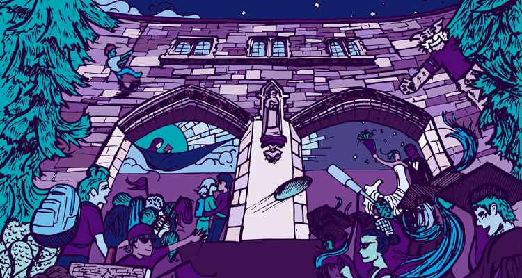 An artistic rendering of the university's storied arches helps ring in St. Thomas Homecoming week.