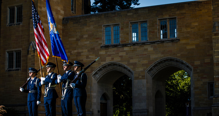 Members of the Air Force ROTC color guard hold the American and Air Force flags. The new Veterans Resource Center opens on campus Nov. 10.