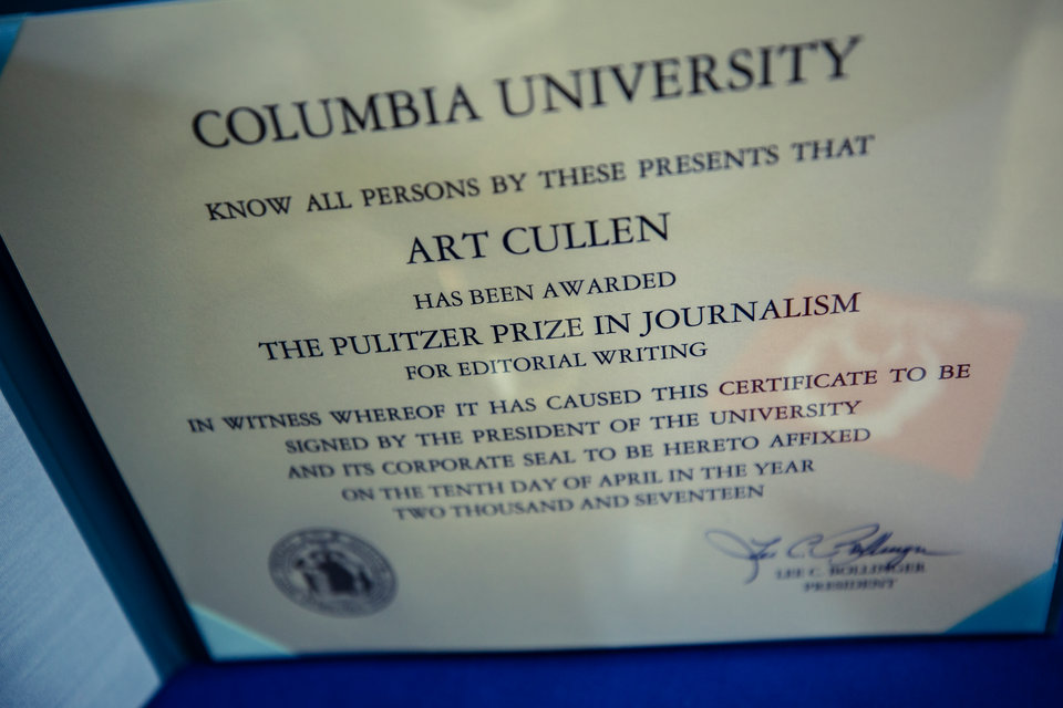 Cullen's Pulitzer Prize certificate is on display in the Storm Lake Times newsroom.
