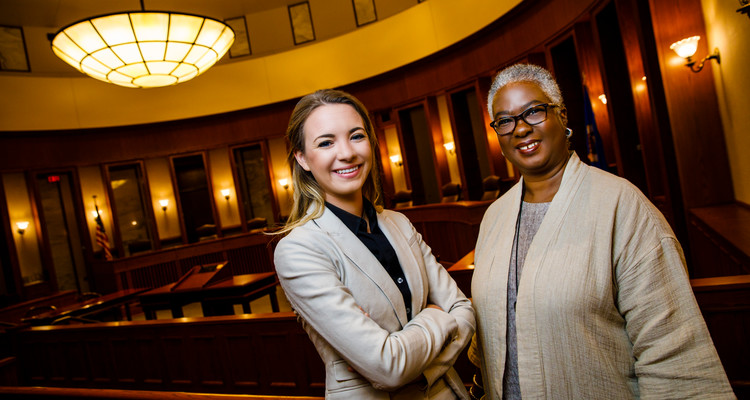 School of Law student Molly Sigler (left) and Judge Pamela Alexander pose for a portrait at the Minnesota Judicial Center September 7. 2017. Alexander mentored Sigler through the School of Law's mentor externship program. Taken for St. Thomas Lawyer magazine.