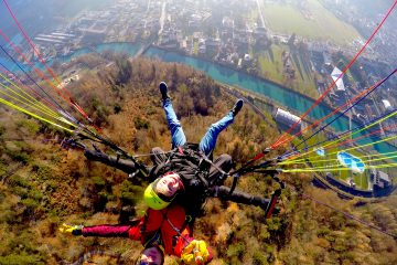 "Third place, Most Epic Selfie: Jake Hartmann, Interlaken, Switzerland. ""Free Fallin': This photo was taken while I was paragliding above the city of Interlaken, Switzerland. The canal below connects Lake Brienz and Lake Thun, the two lakes that surround the town. From this height there was also an amazing view of the Bernese Alps!"""