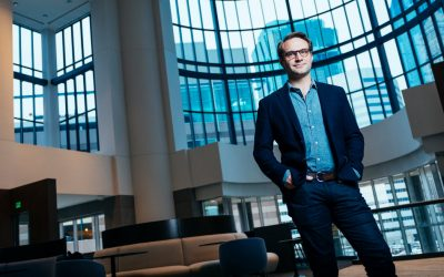 McLean Donnelly '14 MBA, head of digital product and user experience for Sleep Number, poses for a portrait at Sleep Number headquarters in Minneapolis December 13, 2017.