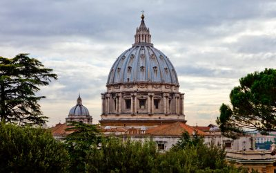The dome of St. Peter's Basilica is seen from the Vatican gardens October 14, 2010 in Rome, Italy.
