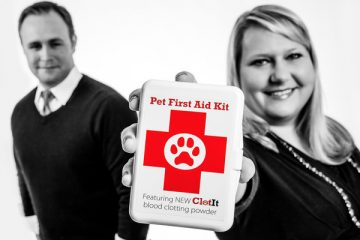 St. Thomas Opus College of Business alums Michael and Susie Wuollett '11 pose for a studio portrait July 8, 2014 with ClotIt, a product they developed to help blood clot faster. The powder is currently used in veterinary applications and the two are hoping to start human trials soon.
