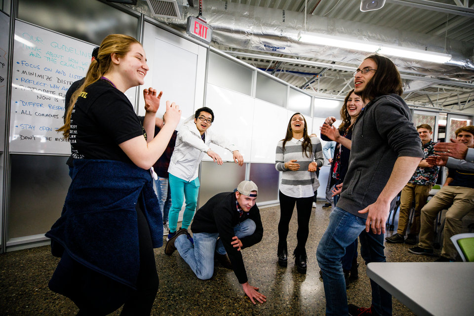 """Students act out improvised scenarios during a """"Compleat Engineer"""" class January 19, 2018 in the Facilities and Design Center. The class focuses on teaching communication and teamwork."""