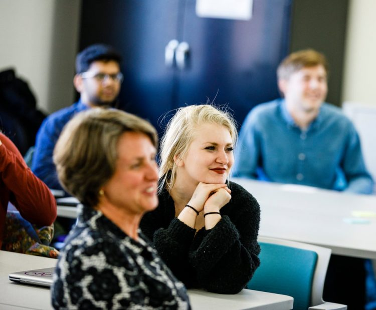 """Students listen to a presentation during a """"Compleat Engineer"""" class January 19, 2018 in the Facilities and Design Center. The class focuses on teaching communication and teamwork."""