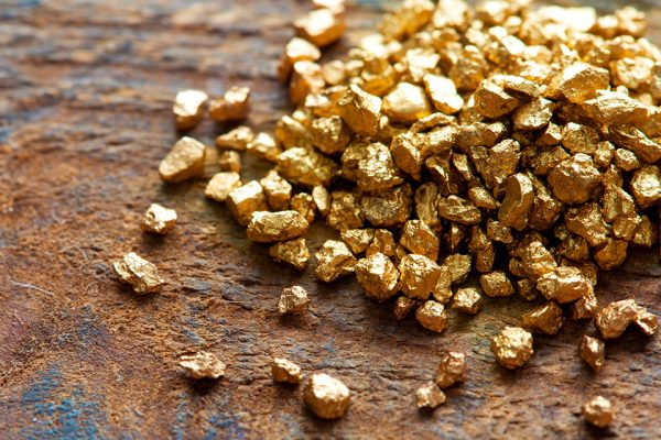 Gold rocks on a table