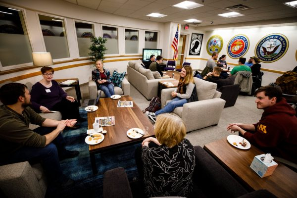 Students fill the Murray-Herrick Campus Center Veterans Resource Center February 1, 2018. The center provides services for students who are veterans, active duty military, or dependents of veterans.