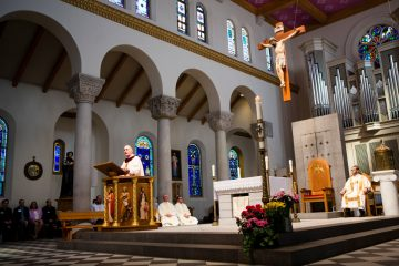 Rev. Msgr. Aloysius R. Callaghan gives the Homily during the Friends Mass and Breakfast in Saint Mary's Chapel on Sunday, April 22, 2018.