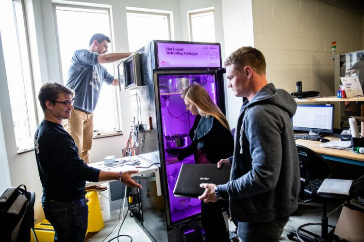 Engineering students work on their senior design projects late in spring semester on April 30, 2018 in the Facilities and Design Center in St. Paul.