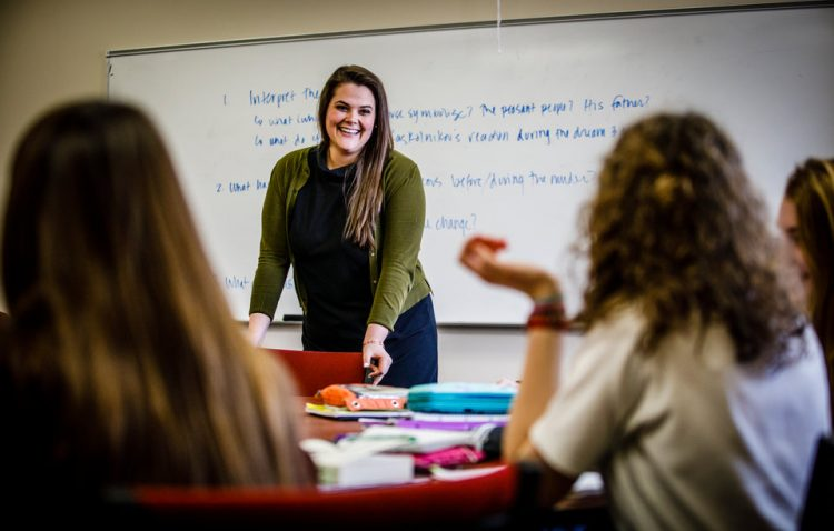 Catholic Studies alum Anne Morath teaches her Humane Letters class at Trinity School March 22, 2018 in Eagan, MN. Taken for Lumen magazine.