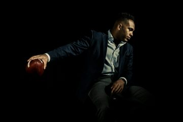 Student Tobias Knight is a football player, rugby player, choir member, Tommie Award finalist and finance major. Studio portrait taken May 3, 2018 for Humans of St. Thomas