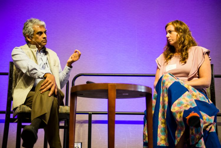Fred de Sam Lazaro and Katie Meyler speak during the Under-Told Stories Gala in the Anderson Student Center, Woulfe Alumni Hall, on Monday, April 30, 2018.